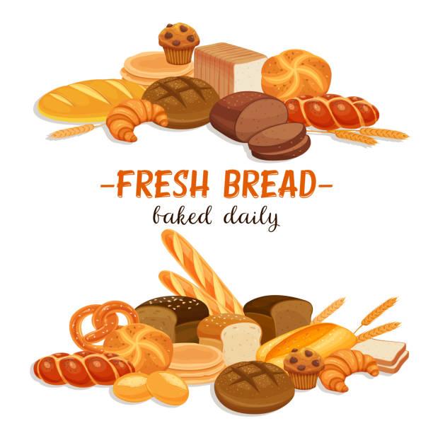 illustrazioni stock, clip art, cartoni animati e icone di tendenza di banner with bread products - pane forno