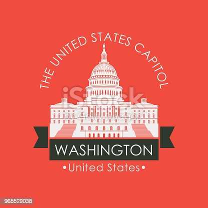 Vector travel banner or logo. US National Capitol in Washington DC, USA. American landmark in retro style on red background. The Western facade of the Capitol