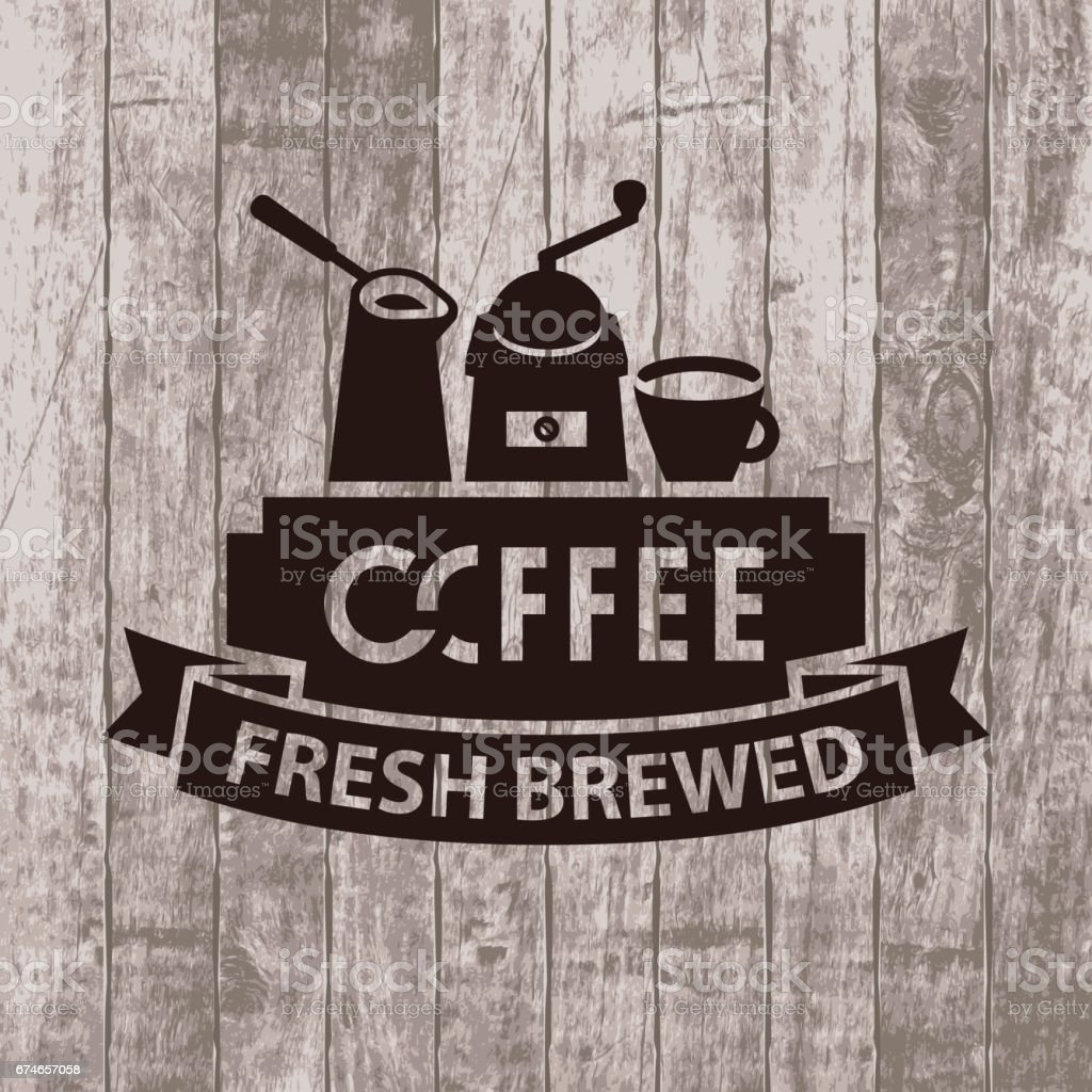 banner with cezve, grinder and cup of coffee vector art illustration