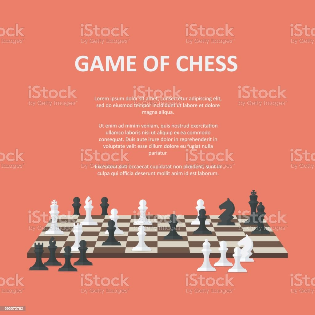 Banner with chess pieces on a chessboard vector art illustration