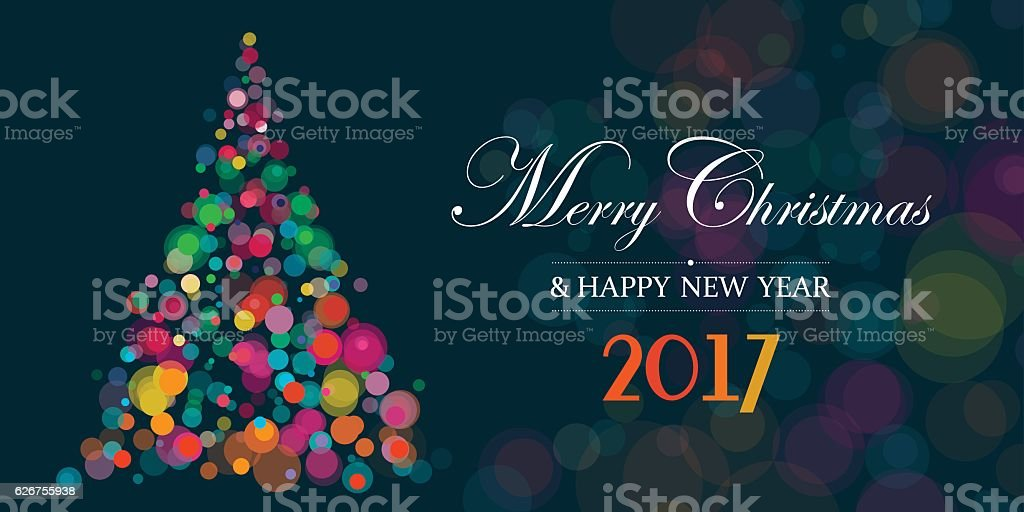 Banner With Christmas Tree On Dark Background vector art illustration