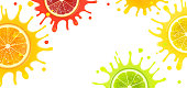 banner with citrus fruits and splash juice on a white background