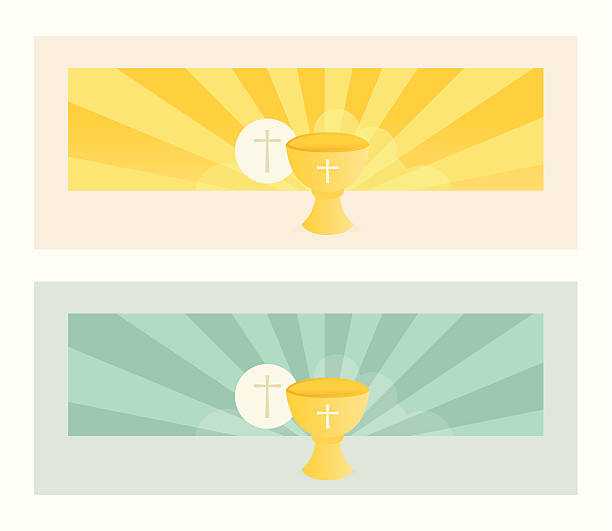 banner with communion bread and wine chalice - communion stock illustrations, clip art, cartoons, & icons