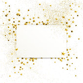 banner with confetti of gold stars and sparkles on white background