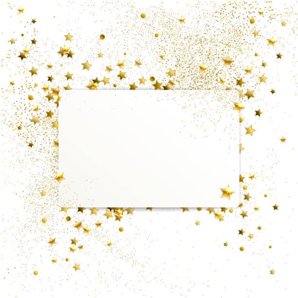 bildbanksillustrationer, clip art samt tecknat material och ikoner med banderoll med konfetti guld stjärnor och gnistrar - christmas decoration golden star