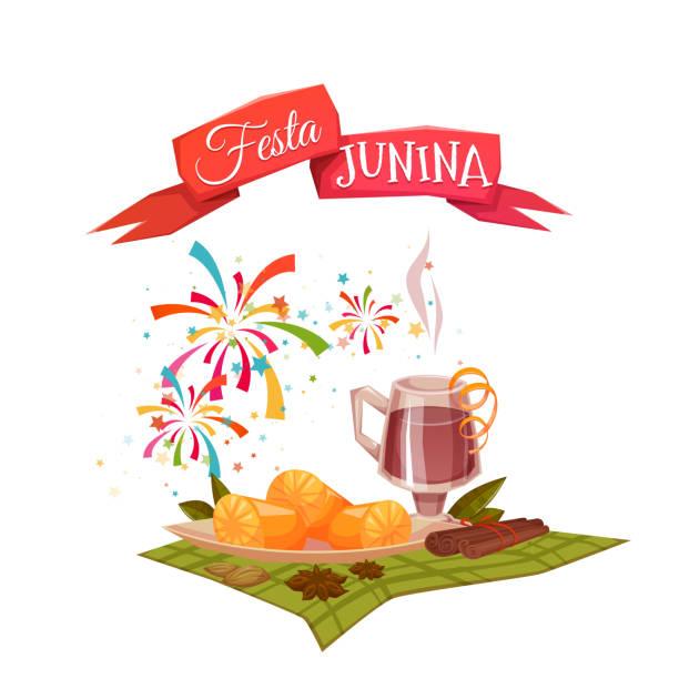 ilustrações de stock, clip art, desenhos animados e ícones de bandeira com milho e quentao para festa festa junina brasil - douro