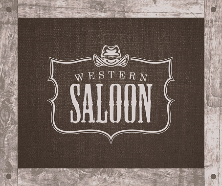 banner with cowboy hat and words Western saloon