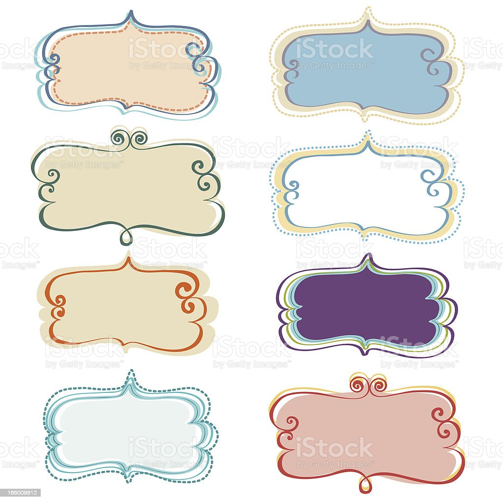 Banner with Different Vintage Frames royalty-free stock vector art