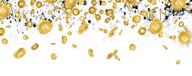 stockillustraties, clipart, cartoons en iconen met banner met vallende gouden bitcoins. - bitcoin