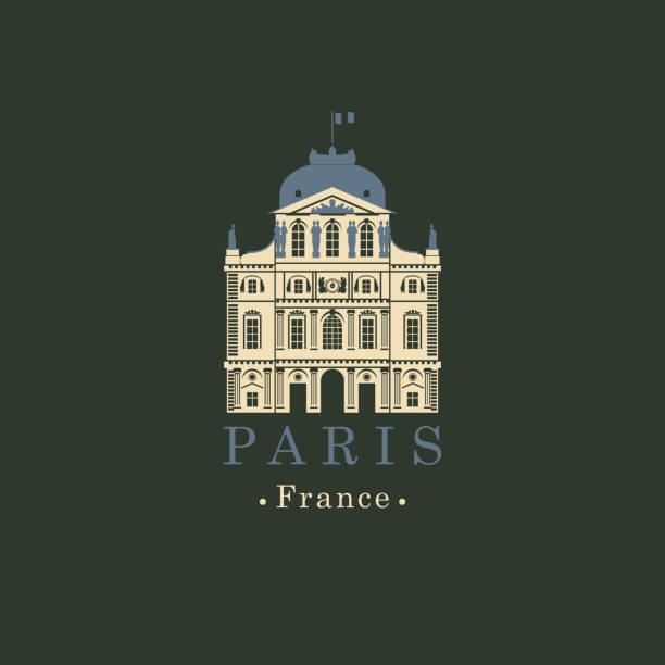 ilustrações de stock, clip art, desenhos animados e ícones de banner with french national museum louvre in paris - museu do louvre