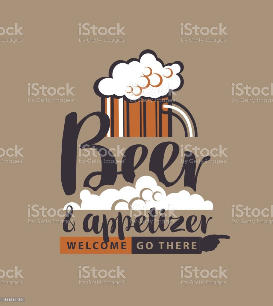 banner with glass of beer, pointer and inscription vector art illustration