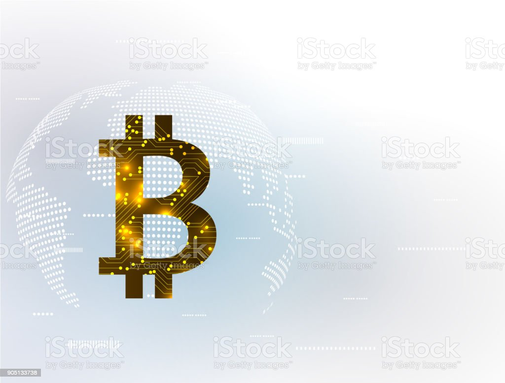 banner with golden bitcoin. Global network background business from concepts series. vector art illustration