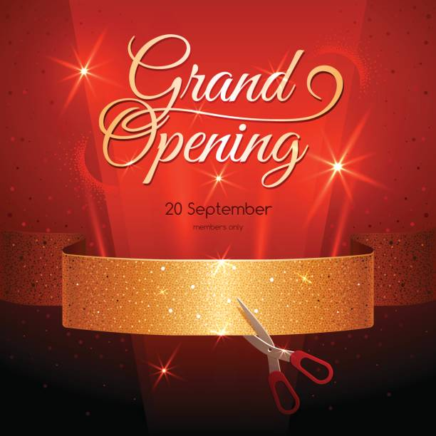 Banner with Golden Ribbon on Dark Red Background. Grand Opening. vector art illustration