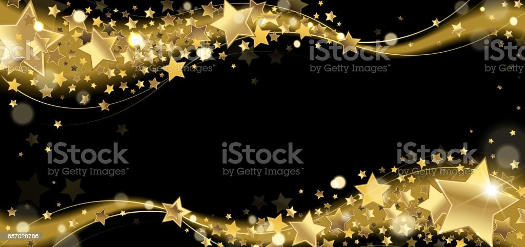 Banner with Golden Sparkling Stars vector art illustration