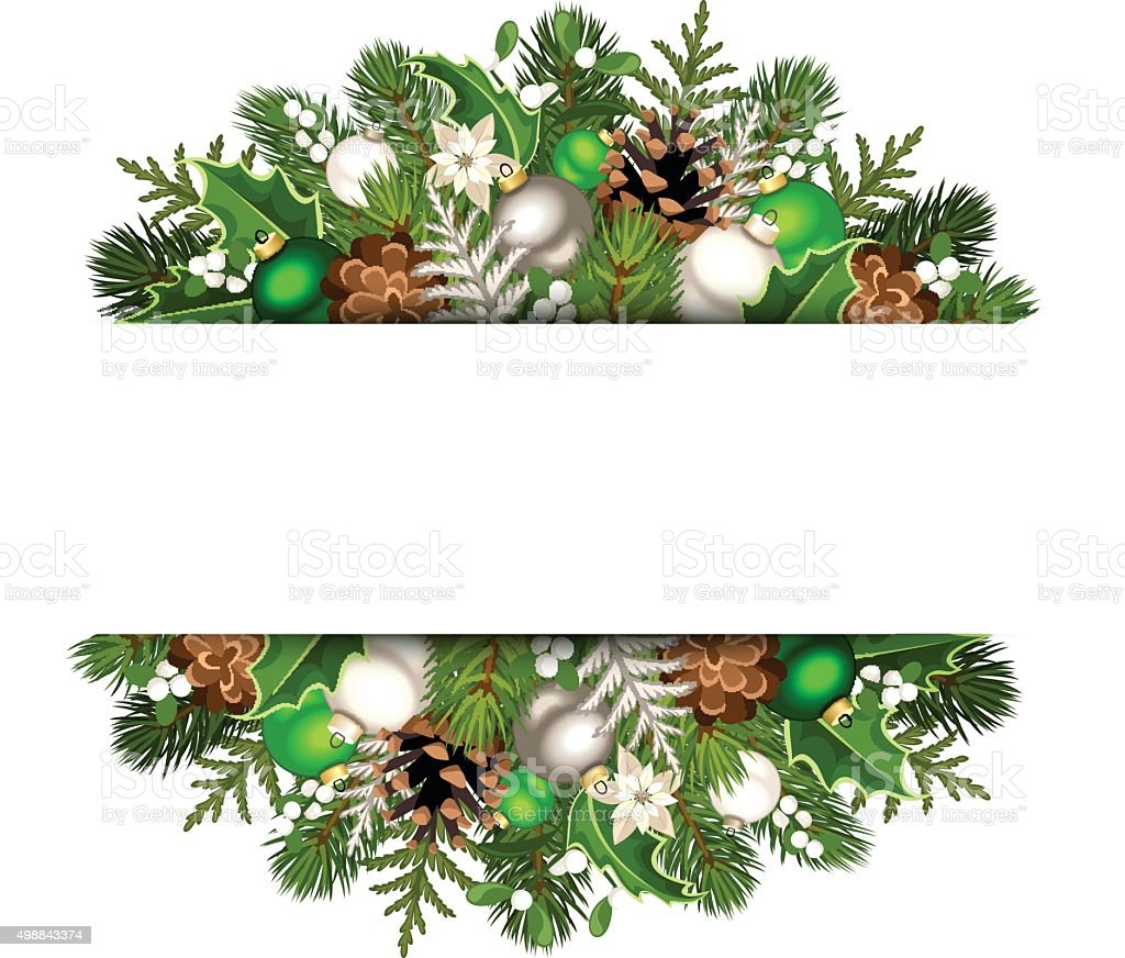 banner with green and silver christmas decorations vector eps 10 royalty free - Green And Silver Christmas Decorations