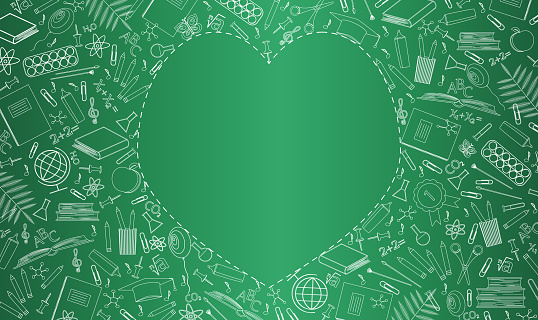 Banner with green school board. School supplies, education symbols are drawn in chalk. Empty place in the form of heart for text. Flat vector illustration. Happy Teachers Day, start of school year