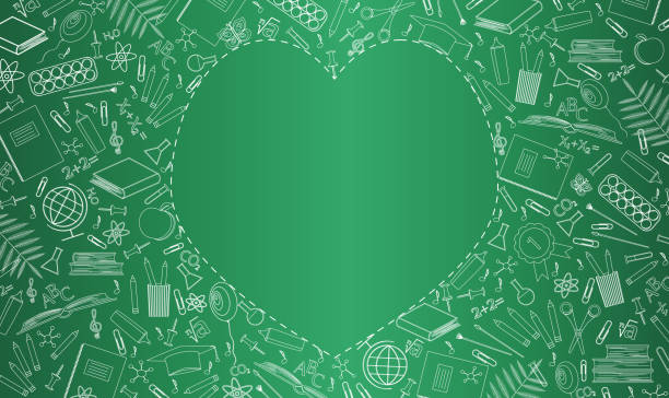 ilustrações, clipart, desenhos animados e ícones de banner com conselho escolar verde. material escolar, símbolos educacionais são desenhados em giz. lugar vazio na forma de coração para texto. ilustração vetorial plana. feliz dia dos professores, início do ano letivo - professor