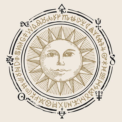 banner with hand drawn sun and esoteric symbols
