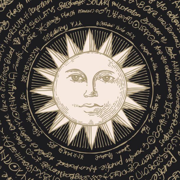ilustrações de stock, clip art, desenhos animados e ícones de banner with hand drawn sun and magical spells - seitas