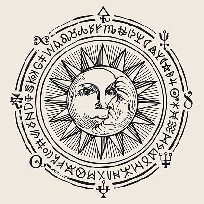banner with hand drawn sun, moon and magic signs