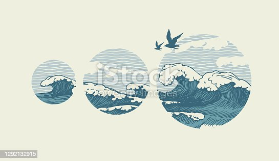 istock banner with hand-drawn sea waves and seagulls 1292132915