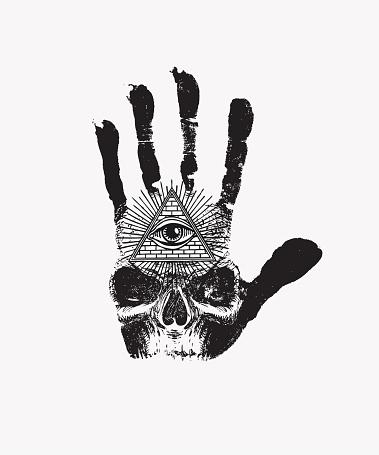 banner with handprint, human skull and third eye
