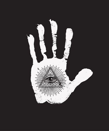 banner with handprint with all seeing eye symbol