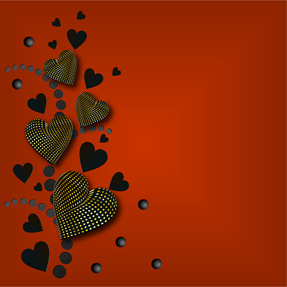 Banner with hearts and balls on a red background. Vector color illustration