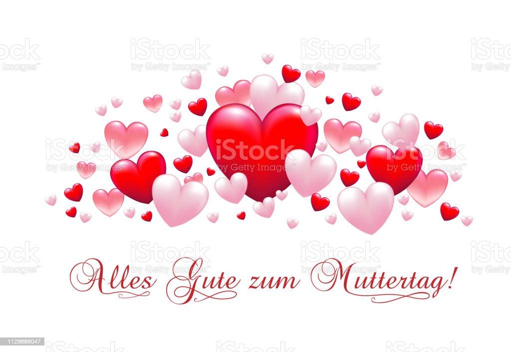 Muttertag Karte.Banner Mit Herzen Zum Muttertag Karte Mit Grüße Zum Muttertag In