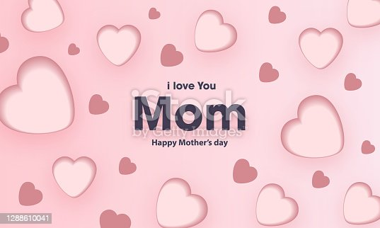 istock Banner with hearts for Mother's Day, Card with greetings for Mother's Day 1288610041
