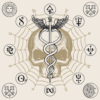 banner with hermes staff caduceus and human skull