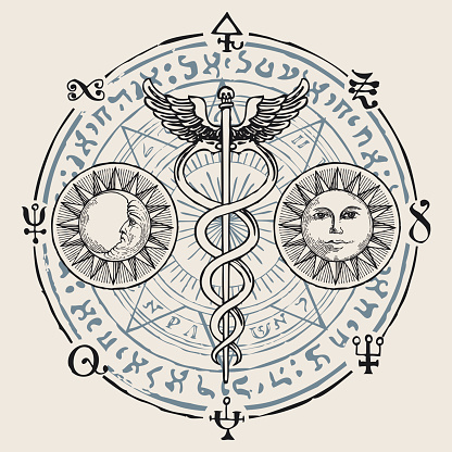 banner with hermes staff caduceus and runes