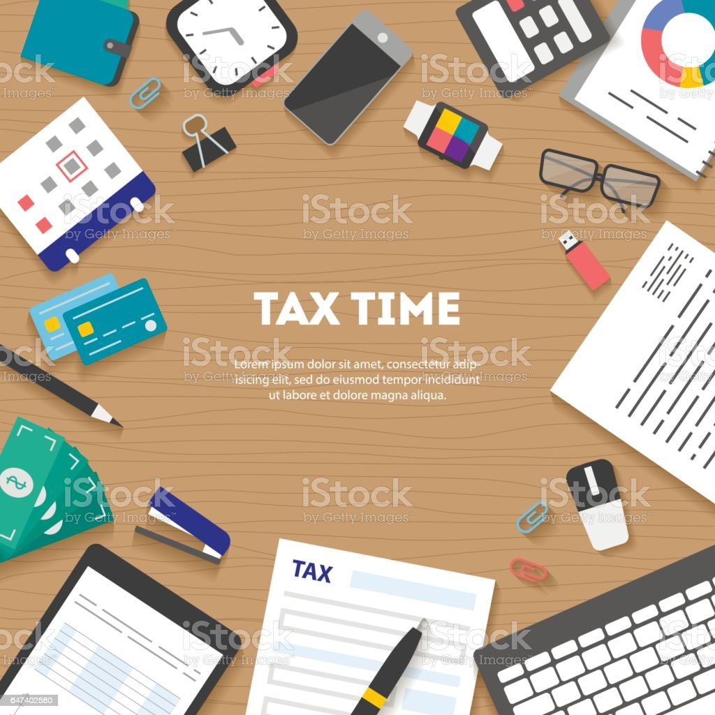 Banner with icons paying taxes arranged in circle vector art illustration