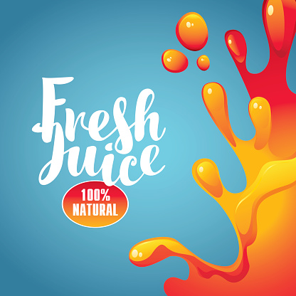banner with inscription fresh juices and splashes