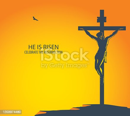 istock banner with Jesus Christ crucified on the cross 1203974480