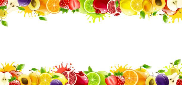 illustrazioni stock, clip art, cartoni animati e icone di tendenza di banner with juicy fruit - healthy green juice