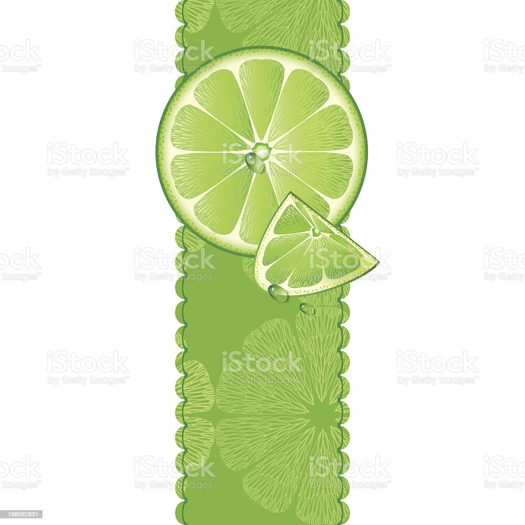 Banner with juicy slices of lime fruit royalty-free stock vector art