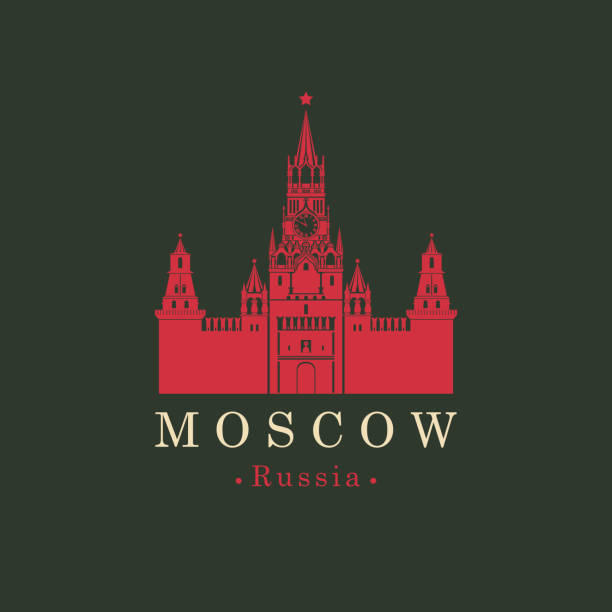 banner with Kremlin in Moscow, Russian landmark Vector travel banner or logo. Spasskaya tower of the Kremlin on red square in Moscow, Russia. Russian national landmark in retro style kremlin stock illustrations