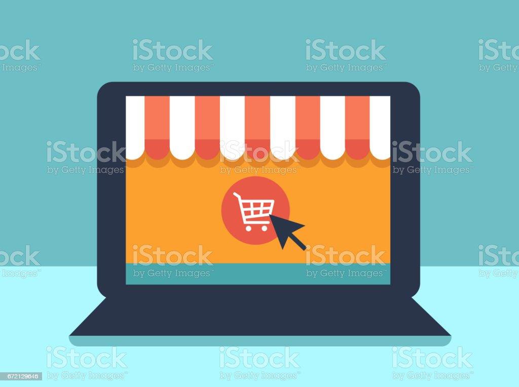 Bannière avec ordinateur portable. Page avec boutique en ligne ouvrira à l'écran de l'ordinateur portable. Concept de magasinage en ligne - Illustration vectorielle