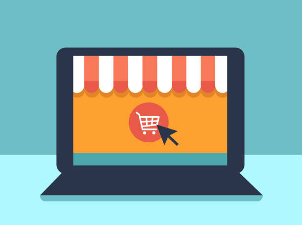 Banner with laptop. Page with online store open on laptop screen. Concept online shopping Banner with laptop. Page with online store open on laptop screen. Concept online shopping online shopping stock illustrations
