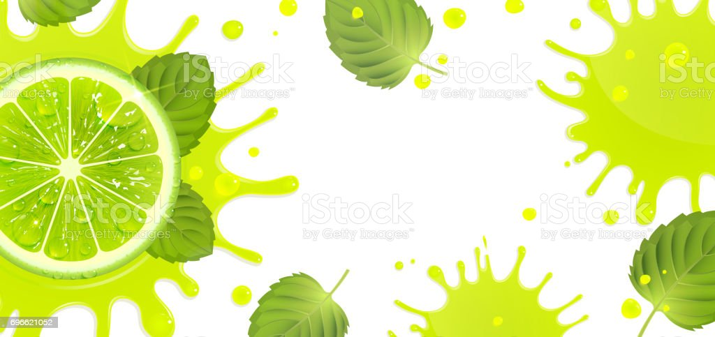 Banner with Lime and Splash Juice vector art illustration