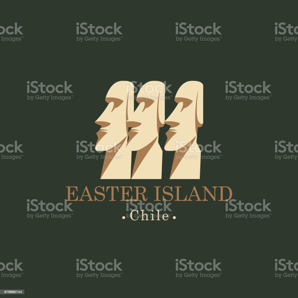 Banner with Moai statues of Easter island, Chili vector art illustration