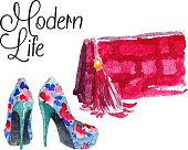 Banner with modern womens shoes and bag. Banner Modern life. Watercolor vector illustration