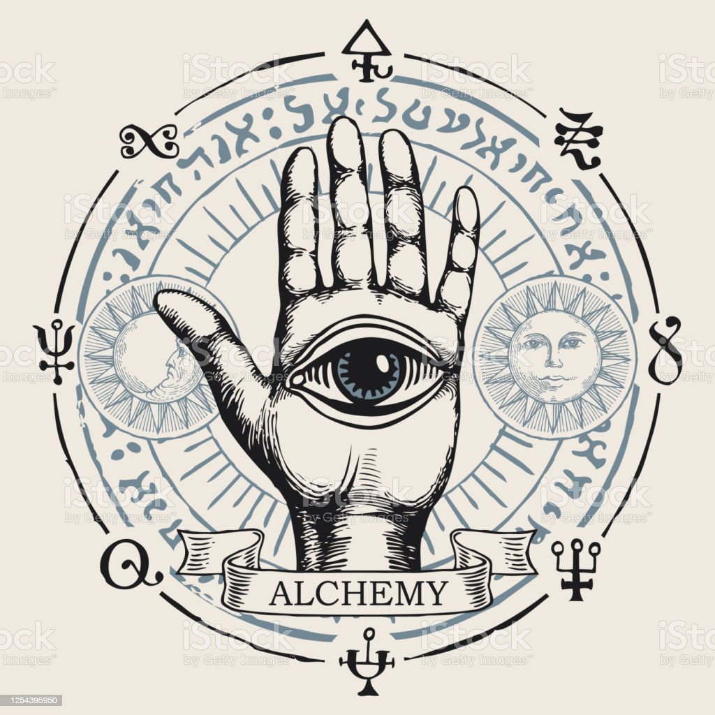 Banner With Open Hand With All Seeing Eye Symbol Stock ...