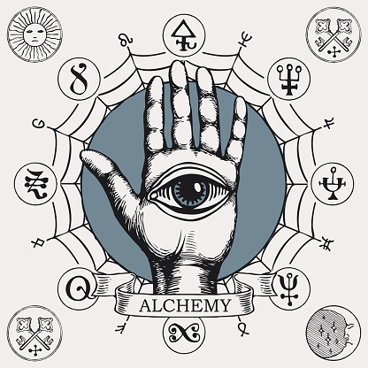 banner with open hand with all seeing eye symbol