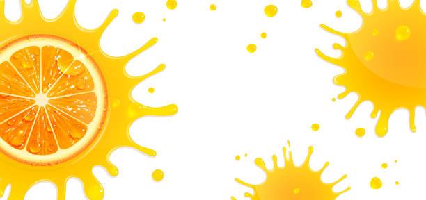 Banner with Orange and Splash Juice vector art illustration