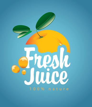 banner with orange fruit and fresh juice splash