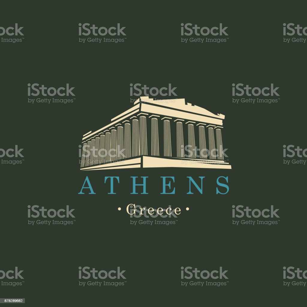 banner with Parthenon from Athens, Greek landmark vector art illustration