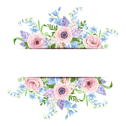 Download Banner With Pink Blue And Purple Flowers Vector ...