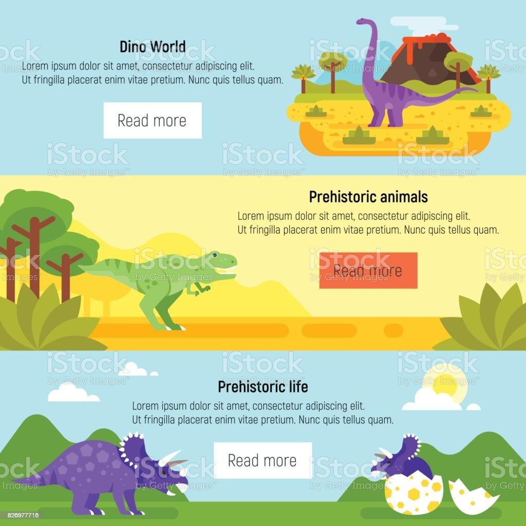 banner with prehistoric landscape and dinosaurs. vector art illustration
